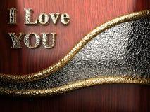 Gold auf rotem Holz Stockfotografie