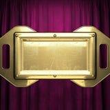 Gold auf rotem Samtvorhanghintergrund Lizenzfreie Stockfotografie
