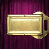 Gold auf rotem Samtvorhanghintergrund Stockfoto