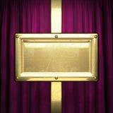 Gold auf rotem Samtvorhanghintergrund Lizenzfreie Stockfotos