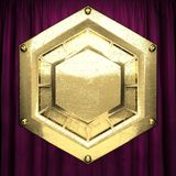 Gold auf rotem Samtvorhanghintergrund Lizenzfreie Stockbilder