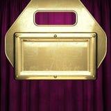 Gold auf rotem Samtvorhanghintergrund Lizenzfreies Stockfoto