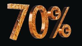 Gold 70% auf schwarzer Illustration des Hintergrundes 3d Lizenzfreies Stockbild