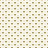 Gold auf weißem Liebesherzen und punktierte Linie kopieren nahtlosen Wiederholungshintergrund lizenzfreie abbildung