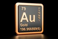 Gold aurum Au chemical element. 3D rendering. Gold aurum Au, chemical element sign. 3D rendering isolated on black background royalty free illustration