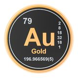 Gold aurum Au chemical element. 3D rendering. Gold aurum Au chemical element sign. 3D rendering isolated on white background royalty free illustration