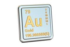 Gold aurum Au, chemical element sign. 3D rendering Stock Photography