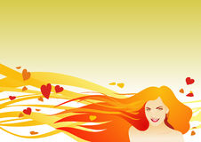 Gold autumn. Beautiful woman with red hair on gold background royalty free illustration