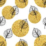 Gold autumn floral background. Glitter textured seamless pattern with fall golden and black leaf. Vector illustration. EPS10 Stock Photos