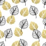 Gold autumn floral background. Glitter textured seamless pattern with fall golden and black leaf. Vector illustration. EPS10 Royalty Free Illustration