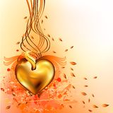 Gold_autumn_heart vector illustration