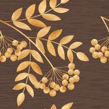 Gold autumn leaves and rowan-berry Stock Images