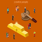 Gold AUX auction mallet golden bars flat 3d isometric vector. Gold AUX auction flat 3d isometry isometric business trade concept web vector illustration. Micro Stock Image