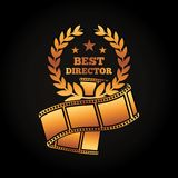 Gold award best director laurel strip film movie. Vector illustration black background Royalty Free Stock Image