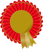 Gold award or certificate icon surrounded by a red and gold ribbon Stock Images