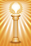 Gold award column with laurel wreath Stock Image