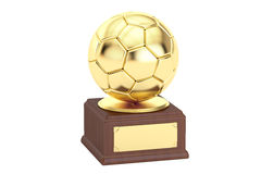 Gold award cup football, 3D rendering Stock Photography