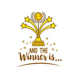 Gold award first place and inscription and the winner is. Golden statuette in form of fireworks for the first place for designers and illustrators. Precious Royalty Free Stock Photo