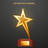 Gold Award in the form of star. On stand, vector illustration Stock Image