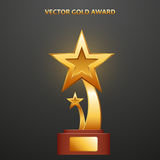 Gold Award in the form of stars. On stand, vector illustration Royalty Free Stock Photography