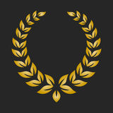 Gold award laurel wreath on dark background. Vector illustration Royalty Free Stock Images