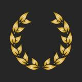 Gold award laurel wreath on dark background. Vector illustration Stock Images