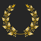 Gold award laurel wreath on dark background. Vector illustration Royalty Free Stock Photos
