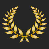 Gold award laurel wreath on dark background. Vector illustration Stock Photography