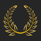 Gold award laurel wreath on dark background. Vector illustration Stock Photos