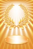 Gold award laurel wreath and label Royalty Free Stock Image