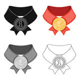 The gold award.Medal of medalist.Awards and trophies single icon in cartoon style vector symbol stock illustration. Royalty Free Stock Images