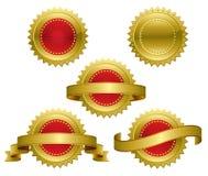 Gold Award Medals. Medallions, scrolls, ribbons - vector illustration Stock Photography