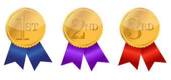 Gold award ribbons. With place numbers illustration design Royalty Free Stock Photo
