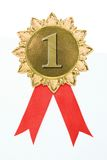 Gold award ribbons Royalty Free Stock Images