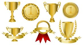 Gold award ribbons. Trophy or medal on isalated white Royalty Free Stock Image