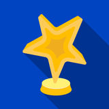 Gold award in the shape of a star.The prize for best role in an action film.Movie awards single icon in flat style Stock Photography