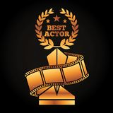 Gold award trophy with laurel best actor strip film movie. Vector illustration black background Stock Photo