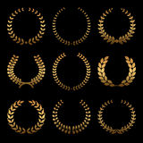 Gold award wreaths, laurel on black background. Vector Royalty Free Stock Photography
