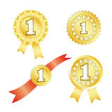Gold awards. Four gold awards for first place Stock Image