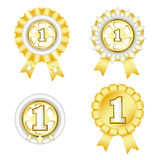Gold awards. Four gold awards for first place Stock Photo