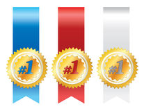Gold awards with ribbons Stock Image