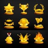 Gold awards, set on black Stock Photos