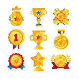Gold awards set, various trophy and prize emblems, golden shield, medal, cup and star vector Illustrations on a white. Gold awards set, various trophy and prize stock illustration