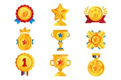 Gold awards set, various trophy and prize emblems, golden shield, medal, cup and star vector Illustrations on a white. Gold awards set, various trophy and prize royalty free illustration