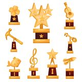 Gold awards statues set, collection of golden trophies and prizes  Illustrations. On a white background Stock Photo