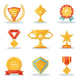 Gold Awards Win Symbols Trophy Isolated Polygonal Icons Set Flat Design  Stock Images