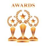 Gold awards winning prize star champion. Vector illustration stock illustration