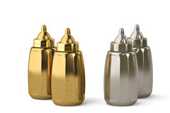 Gold baby bottle and silver baby bottle on white background 3d i. Gold baby bottle and silver baby bottle on white background Stock Photography