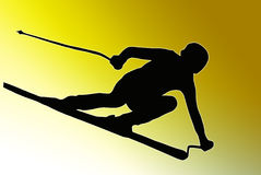 Gold Back Sport Silhouette - Speeding Skier Royalty Free Stock Photo