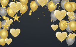 Gold background with balloons and Heart balloons , confetti and. Streamers Royalty Free Stock Images